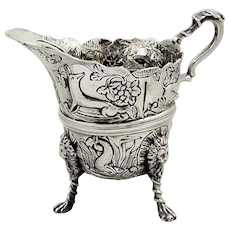 Antique Victorian Sterling Silver Jug / Creamer 1892 - Dogs, Swans, Fish