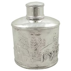 Antique Edwardian Sterling Silver Caddy with Scenes 1901