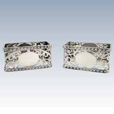 Pair of Unusual Shape Antique Sterling Silver Napkin Rings 1925