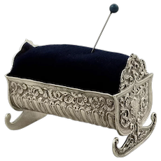 Antique Victorian Sterling Silver Cradle / Crib Pin Cushion 1896
