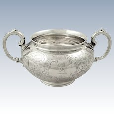 Antique Victorian Sterling Silver 2 Handle Bowl with Crest 1847
