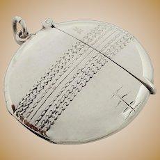 Unusual Antique Edwardian Sterling Silver Cricket Ball Vesta 1905