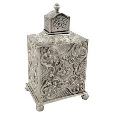 Antique Dutch Silver Caddy with Embossed Decoration 1895