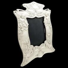 Antique Art Nouveau Sterling Silver 'Angels' Photo Frame 1907