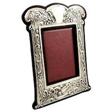 "Antique Art Nouveau Sterling Silver 9"" 'Bird' Photo Frame 1904"