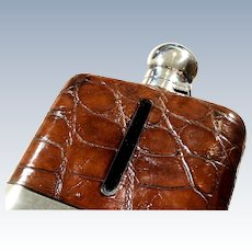 Antique Sterling Silver & Crocodile Leather 1/2 Pint Hip Flask 1930
