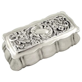 Antique Sterling Silver Ring Box 1901