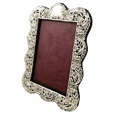 """Antique Victorian Sterling Silver 8"""" Photo Frame 1898"""