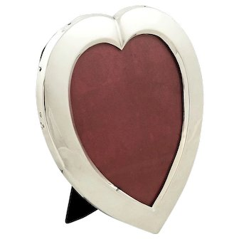 """Antique Victorian Sterling Silver 7"""" Heart Photo Frame 1900"""