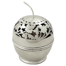 Antique American Sterling Silver String Box / Holder c1890