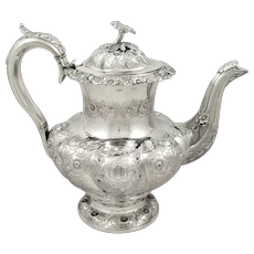Antique William IV Sterling Silver Coffee Pot 1832