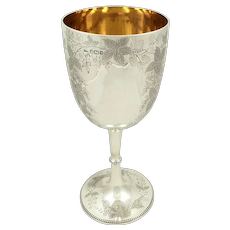 "Large Antique Victorian Sterling Silver 9"" Wine Goblet 1891"