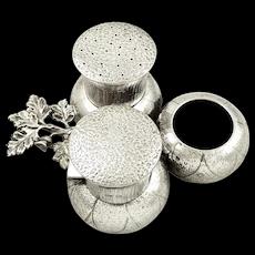 Antique Victorian Sterling Silver Thistle Cruet Set 1878