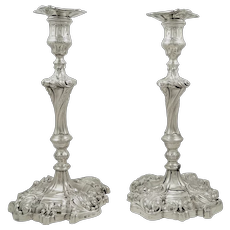 """Pair of Antique Georgian Sterling Silver 11"""" Candlesticks 1829"""