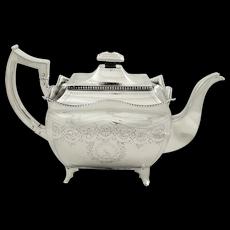 Antique Georgian Irish Sterling Silver Teapot - Dublin 1810