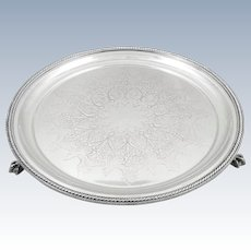 Antique Victorian Silver Plated Tray / Salver c1880