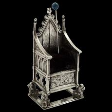 Antique Edwardian Sterling Silver Throne / Coronation Chair Pin Cushion 1910
