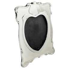 Antique Edwardian Sterling Silver 'Heart' Photo Frame 1902