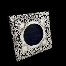 "Antique Edwardian Sterling Silver 7"" x 7"" Photo Frame 1902"