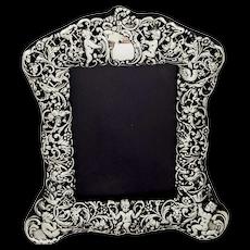 Antique Victorian Sterling Silver Photo Frame 1900  - Cherubs