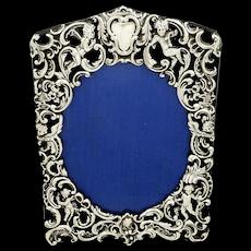 "Antique Victorian Sterling Silver 8"" Cherub Photo Frame 1900"