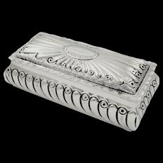 "Antique Victorian Sterling Silver 5"" Trinket Box 1896"
