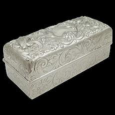 """Antique Victorian Sterling Silver 5 1/2"""" Bird Trinket Box - Goldsmiths 1895"""