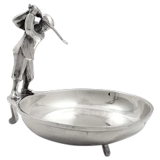 Antique Sterling Silver Dish with Golfer 1934