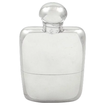 Antique Edwardian Sterling Silver Hip Flask with Cup 1902