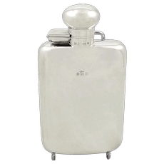 Antique Sterling Silver Hip Flask 1919