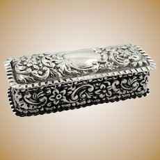 Antique Victorian Sterling Silver Ring Box 1897