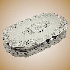 Antique Victorian Sterling Silver Snuff Box 1847 - Masonic