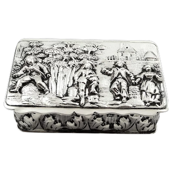Antique Edwardian Sterling Silver Snuff Box 1908