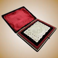 Antique Edwardian Sterling Silver Card Case - Dog & Bird - 1905