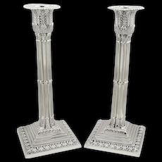 Pair of Antique Victorian Sterling Silver Corinthian Column Candlesticks 1899