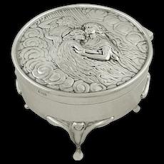 Antique Art Nouveau Sterling Silver Trinket Box 1905