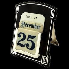 Antique Sterling Silver & Tortoiseshell Desk Top Calendar 1924