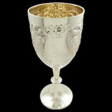 Antique Edwardian Sterling Silver 1 1/2 Pint 'Bird' Wine Goblet 1906