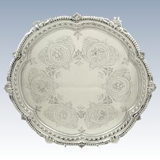 """Antique Victorian Sterling Silver 13"""" Tray / Salver 1898"""
