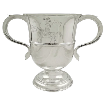 Antique Georgian Sterling Silver 2 Handle Loving Cup 1757 - Drowsey Jenney (Horse)