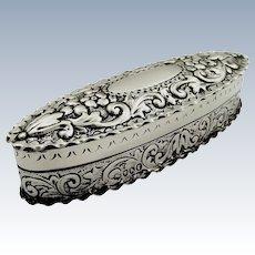 Antique Victorian Sterling Silver Trinket Box 1885