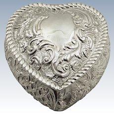 Antique Edwardian Sterling Silver Heart Trinket Box 1902