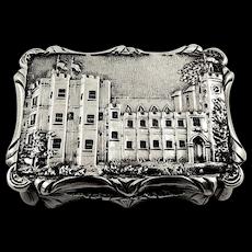 Antique Victorian Sterling Silver Kenilworth Castle Vinaigrette 1847 - Nathaniel Mills