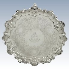"""Antique Victorian Sterling Silver 12"""" Tray / Salver with Crest 1862"""