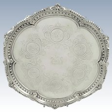 Antique Victorian Sterling Silver Tray/Salver with Lion Crest 1879