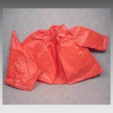 Vintage Terri Lee Orange Rain Coat and Hat Outfit Clothes
