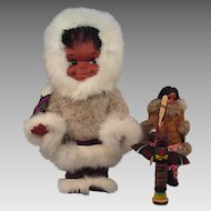 Vintage Eskimo Dolls Lot of Two and a Totem Pole