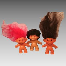 Lot of Trolls Two Wishniks and a Rooted Hair Tab Troll