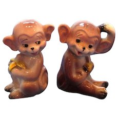 Vintage Monkeys Eating Bananas Salt and Pepper Shaker Set