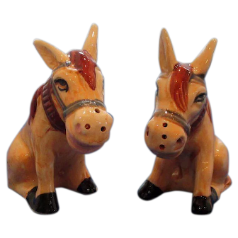 Vintage Horse In Collar Salt and Pepper Shakers